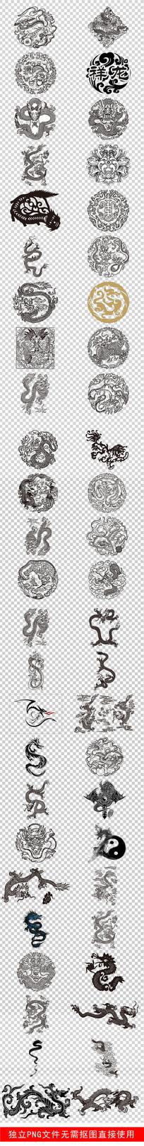 纹身图腾中国风古典黑色龙素材