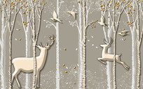 3D立体树木梅花鹿电视背景墙