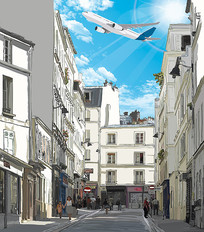 抽象手绘街道飞机装饰画