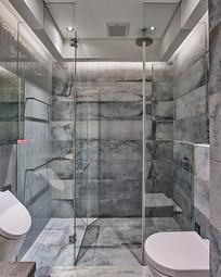 灰色大理石风浴室铺装设计 JPG