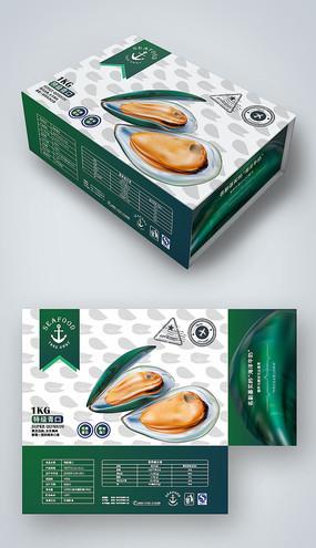 简约大气绿色青口海鲜礼盒