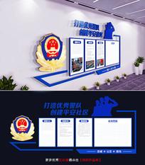 蓝色通用公安局交警警营文化墙