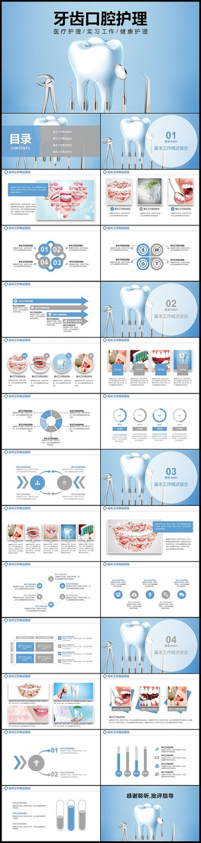 牙科健康牙齿护理口腔健康医疗PPT