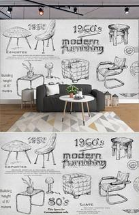 复古怀旧手绘家具椅子背景墙 PSD