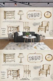 复古家具装饰物背景墙 PSD