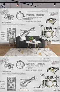 复古手绘怀旧乐器背景墙 PSD