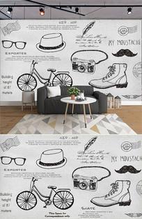 欧式怀旧时尚品背景墙 PSD