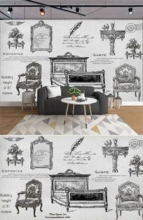 欧式手绘怀旧家具背景墙 PSD
