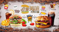 手绘砖墙美味汉堡快餐店背景墙