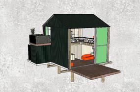 现代两层木建筑模型