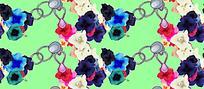 多色花朵锁链素材