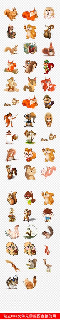 可爱松鼠动物贴纸卡通手绘素材