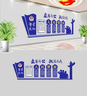 蓝色公安局交警警营文化墙