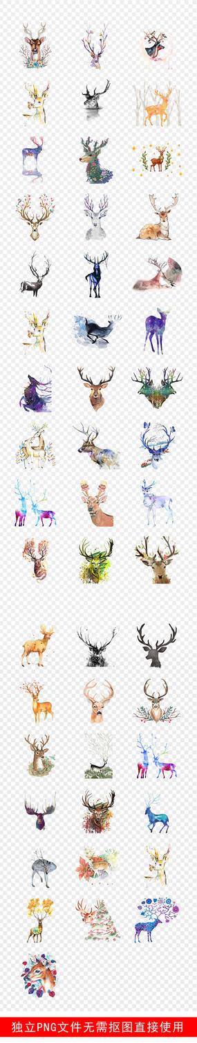 麋鹿剪影水彩手绘鹿森林素材