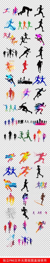 马拉松运动跑步人物剪影素材 PNG