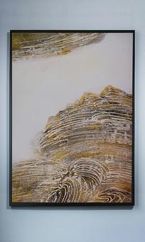 石纹做旧纯手绘抽象玄关装饰画