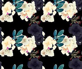 手绘花朵黑色背景素材