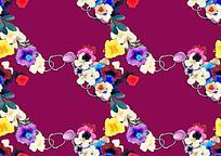 手绘紫色花朵紫色背景图