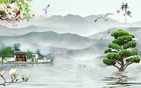 新中式意境禅意山水背景墙