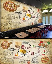 Pizza披萨店背景墙设计 PSD