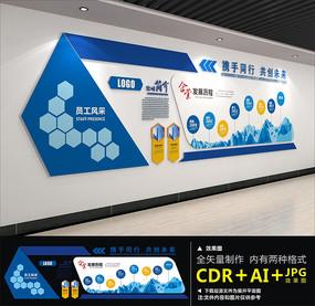 蓝色大气企业文化墙