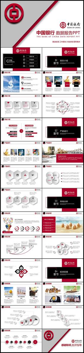 中国银行工作总结数据报告PPT