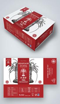 红色大龙虾海鲜礼盒包装设计