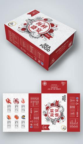 红色大气海鲜礼盒包装设计