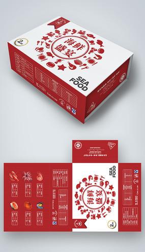 红色简约海鲜礼盒包装设计