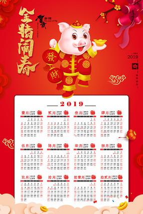 金猪闹春新年挂历模板