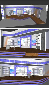 蓝色直播室舞台草图SU模型