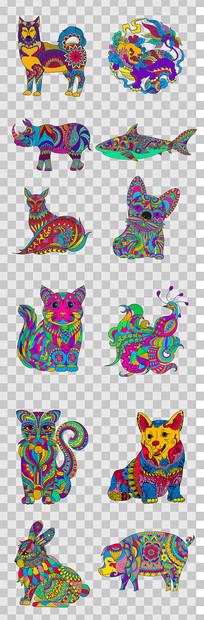 时尚创意动物插画 PNG