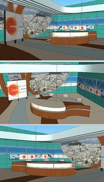 新闻节目演播室舞台SU模型