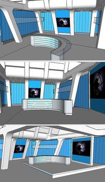 演播室舞台背景草图SU模型