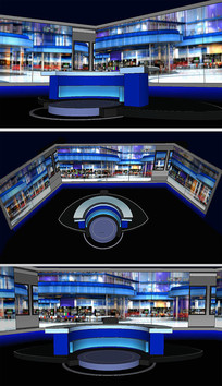 直播室背景舞台草图SU模型