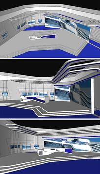 直播室舞台背景草图SU模型
