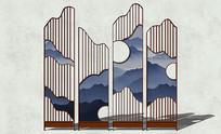 中式图案屏风