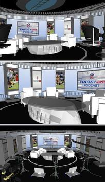 足球演播室舞台草图SU模型