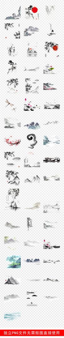 古典古风水墨山中国风装饰素材