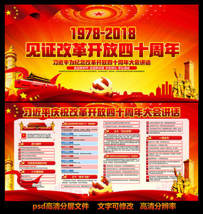 改革开放40周年大会展板 PSD