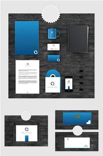 蓝色科技企业VI样机