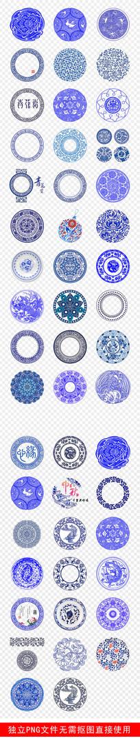 青花瓷中国风圆形花纹底纹素材