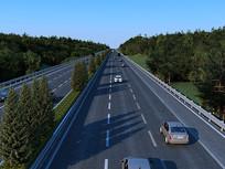 现代高速公路车道树木汽车