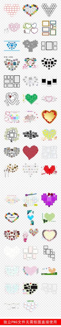 照片墙卡通相框心形照片墙素材