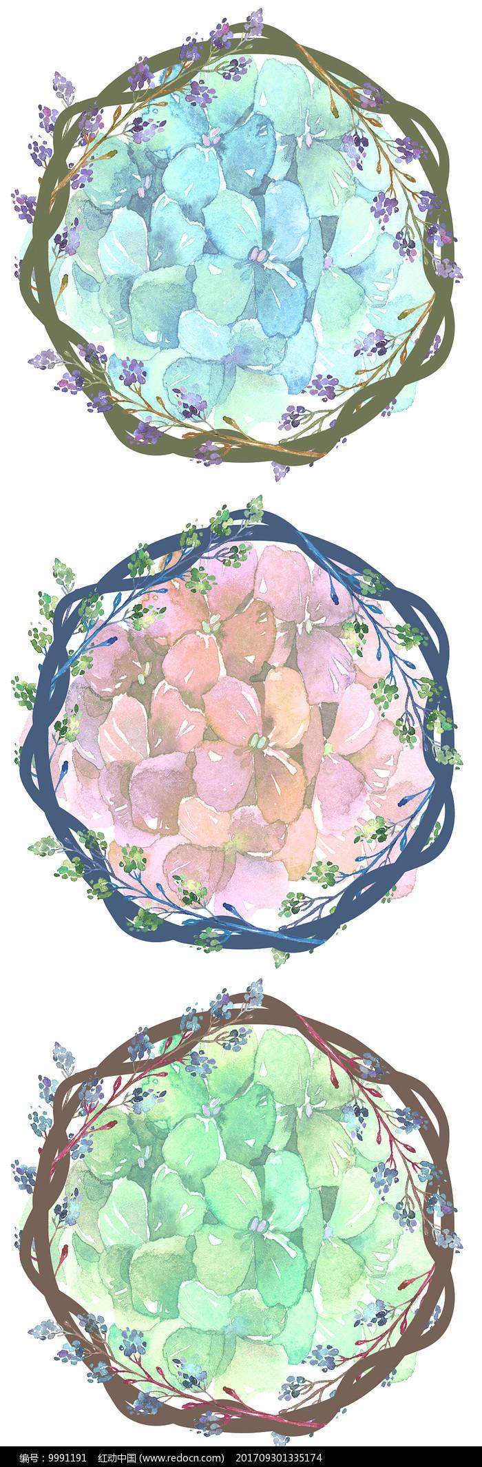北欧小清新花藤花圈边框图案图片
