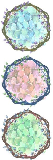 北欧小清新花藤花圈边框图案