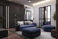灯芯绒元素住宅客厅意向 JPG