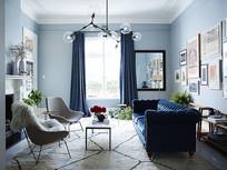 地中海蓝色住宅客厅意向 JPG
