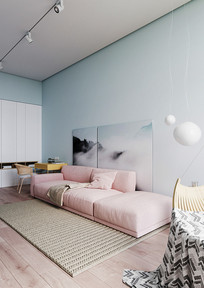 粉蓝结合住宅沙发意向 JPG