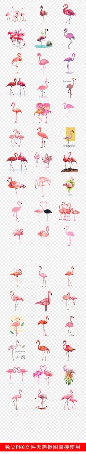 火烈鸟手绘背景墙壁纸壁画素材